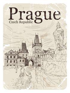 Česká republika Praha retro vektor