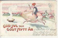 Christmas & New Year -- GOD JUL och GODT NYTT AR, Child on Pig, 1904 postcard
