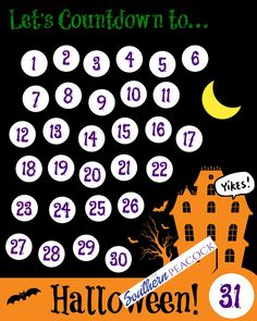 #Halloween Countdown Printable Calendar by TheSouthernPeacockKY