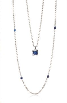 Sable Saphire Pendant Necklace paired with our Sable Endless Navy Agate Necklace