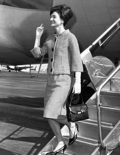 Jacqueline Kennedy deplanes in New York City. She would receive a citation for her contribution to culture and the arts from New York University's Institute of Fine Arts. Oct. 17, 1962. (CSU_ALPHA_790) CSU Archives/Everett Collection
