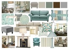 Duck Egg and Grey Living Room Mood Boards by Amy Farrar, via Behance