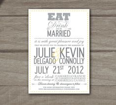 Eat, Drink And Be Married   Modern Wedding Invitations. $3.50, Via Etsy.