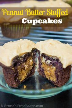 Chocolate Peanut Butter Stuffed Cupcakes with Peanut Butter Cream Frosting ~ yummy recipe