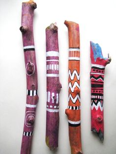 I have different small art projects of my own under way all the time and right now I& experimenting with wood. These are my painte. Painted Driftwood, Driftwood Art, Stick Art, Painted Sticks, Wood Sticks, Art Lessons Elementary, Camping Crafts, Spirit Sticks, Small Art