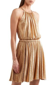HALSTON HERITAGE Metallic stretch-jersey mini dress