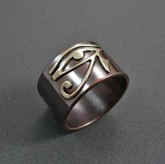 Eye Of Horus Ring - Sterling Silver On Copper Band