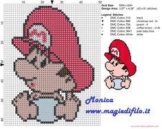 Baby Mario cross stitch pattern