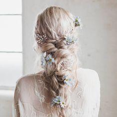Wedding Braids, Wedding Hair Pins, Wedding Hair Flowers, Wedding Hair Accessories, Flowers In Hair, Whimsical Wedding Hair, Silk Flowers, Flower Headpiece Wedding, Boho Bridal Hair
