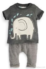 ☆FAB BNWT NEXT BABY BOYS ELEPHANT OUTFIT GREY TOP STRIPED BOTTOMS SET NEWBORN☆