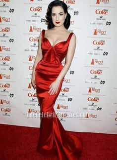 Dita Von Teese Sexy Mermaid Red Carpet Dress