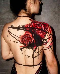 Big Rose Tattoo on Shoulder Blade Tattoo by Dynoz Art Attack Rose Tattoos For Women, Shoulder Tattoos For Women, Back Tattoo Women, Back Tattoos, Body Art Tattoos, Sleeve Tattoos, Female Tattoos, Upper Shoulder Tattoo, Red Rose Tattoos