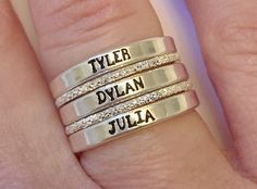 Sterling Silver Stacking rings, Diamond Cut Spacer ring, Personalized rings, 3mm, Name Rings, Custom Rings, Personalized Name Rings, 7, 8 by AMEvangelista on Etsy Stackable Name Rings, Diamond Stacking Rings, Ring Spacer, Initial Jewelry, Mother Rings, Personalized Rings, One Ring, Cartier Love Bracelet, Dream Book