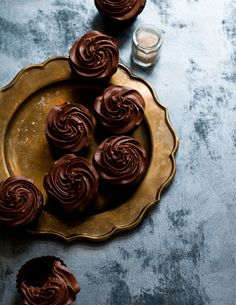 Dark Chocolate Earl Grey Cupcakes. Love the idea of Earl Grey in the frosting!