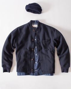 WANT ALL OF THIS! recycled wool beanie, navy pattern wool newark jacket, japanese brushed oxford jarrow overshirt