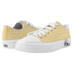 GoldYellow and White Checked Pattern Low Top Shoes