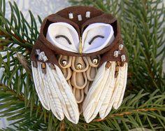 Tissu OWL, broche tsumami zaiku, dans un style japonais.
