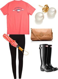 """ootd-rainy day"" by clareb113 ❤ liked on Polyvore"