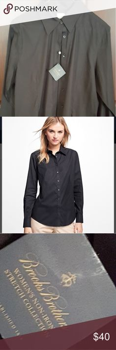 Non-Iron fitted dress shirt Brooks Brothers Black size 16 ladies shirt new/never worn (part of tag still on shirt see pix) Brooks Brothers Tops Blouses