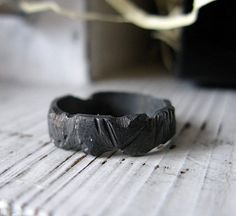 Mens Black Wedding Band Sterling Silver with Black by RUSTICforMEN