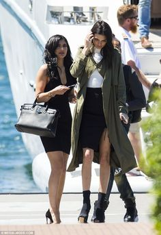 Busy day ahead: A mere hours after they landed in the country, the reality stars were seen making the most of the glorious sunshine ahead of their promotional duties later in the day