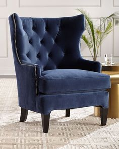 Shop Essie Tufted Velvet Wing Chair at Horchow, where you'll find new lower shipping on hundreds of home furnishings and gifts. Chair And Ottoman, Upholstered Chairs, Chair Cushions, Wingback Chair, Comfy Armchair, Modern Armchair, Tufted Accent Chair, Accent Chairs, Blue Chairs