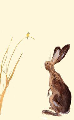 Catherine Rayner :: Rabbit staring at yellow bird.