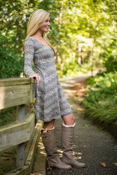 Your love for this dress will NEVER fade! The fit is absolutely timeless and the subtle combination of colors is just one of those things that will continue to take your breath away again and again! We love how Alexis style this simple piece with some great boots and cute high socks! It's so fall we can almost hear the leaves crunching under her feet! ;)
