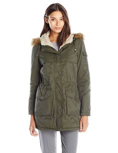 Tommy Hilfiger Women's Short Parka with Sherpa Trim -- This is an Amazon Affiliate link. Read more reviews of the product by visiting the link on the image.