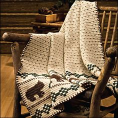 """I like this rustic throw with bears. From Crochet World Magazine October 2010: """"If You Go Into the Woods Today …"""" pattern by Debra Arch"""