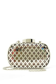 Like A Diamond Clutch $58.00. Shine bright with this totally cool silver clutch featuring laser cut detailing and a snap closure at top. Fully lined, detachable chain strap. Looks amazing with your favorite black dress and a pair of pumps!
