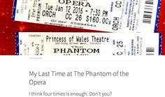 My Last Time at The Phantom of the Opera I think four times is enough. Don't you? #phantomoftheopera