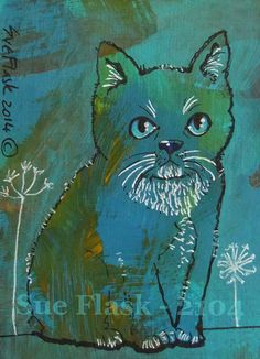 ACEO 2014 New Original Acrylics Painting Miniature Art - Blue Cat by Sue Flask #ACEOartcards