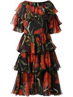 Dolce & Gabbana Robe À Fronces Et À Imprimé Rose - Capitol - Farfetch.com
