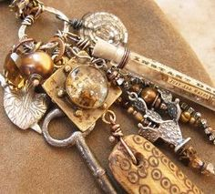 Mixed Media Treasure Necklace Antique Handmade by deserttalismans#Repin By:Pinterest++ for iPad#