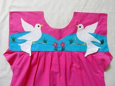 Paloma Blanca Mexican Dress Vibrant Appliques Hippie Boho Cool For Summer Vintage