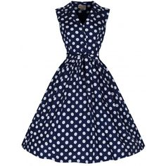 The 'Matilda' dress is your new statement piece! With a navy polka print and flared skirt you'll be jiving your way through the crowd! Navy Shirt Dress, Collared Shirt Dress, Cotton Shirt Dress, Collar Dress, Dot Dress, Cotton Dresses, Vintage Inspired Fashion, Vintage Inspired Dresses, Vintage Outfits