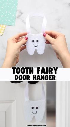 Tooth Fairy Door Hanger 🦷 - perfect no sew DIY tooth fairy door hanger! You can easily make this with just a few supplies! Free tooth template included on the post!