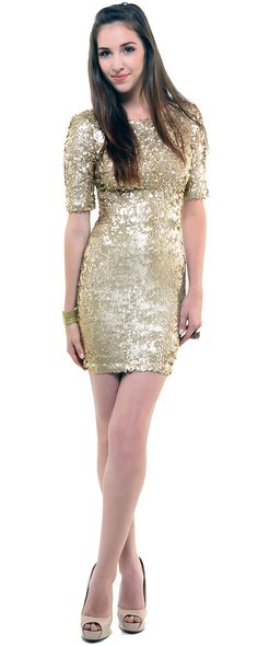 All That Glitters Gold Sequin Short Sleeve Cocktail Dress - Unique Vintage  - Pinup 3357cc1d7
