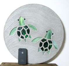 """Baby Sea Turtles Garden Stepping Stone Large 18"""" Diameter Concrete Stained Glass Mosaic Art by David Edenfield Happy Trails Stepping Stones on Etsy, $39.95"""