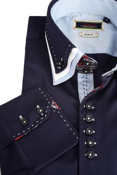 Tonelli Triple Collar Navy Dress Shirt | Slim Fit Shirt | Exclusive Luxury Shirts
