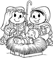 Resultado de imagem para desenhos turma da monica para colorir presepio de natal