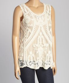 Love this Natural Sheer Embroidered Tank - Plus on #zulily! #zulilyfinds