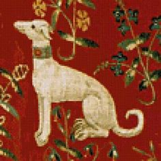 Orenco Originals Medieval Whippet Dog Detail Lady Unicorn Counted Cross Stitch Pattern