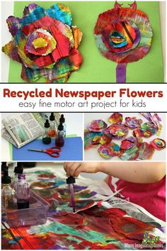 Watercolor & Recycled Newspaper Flower Craft Easy watercolor & recycled newspaper flower craft for toddlers and preschoolers. A perfect spring-themed activity that is also an open-ended art project for kids! Teachers color mixing and develops fine motor skills in a hands-on way! #preschool #toddlers #kidsactivities #artforkids #preschoolart #finemotor #recycledcrafts #toddlerart #processart<br> Easy watercolor & recycled newspaper flower craft for toddlers and preschoolers. A perfect spring… Summer Crafts For Toddlers, Art Activities For Toddlers, Art For Kids, Spring Activities, Recycled Crafts Kids, Recycled Art Projects, Projects For Kids, Recycled Materials, Recycle Newspaper