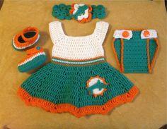 Crochet football dress set Miami Dolphins by Micheleshobbie