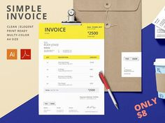 Simple Invoice | Invoice Template by Ronbuz on @creativemarket