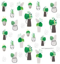 Surface Pattern Design - Sally Payne Cactus, Plants Are Friends, Free Motion Embroidery, Plant Illustration, Pretty Patterns, Plant Design, Floral Watercolor, Watercolour, Cute Earrings