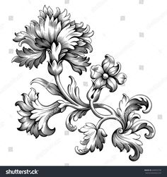 Rose peony carnation flower vintage Baroque Victorian frame border floral ornament leaf scroll engraved retro pattern decorative design tattoo black and white filigree calligraphic vector border Design Tattoo, Flower Tattoo Designs, Flower Tattoo Back, Flower Tattoos, Wildflowers Tattoo, Carnation Tattoo, Motif Baroque, Molduras Vintage, Filigree Tattoo