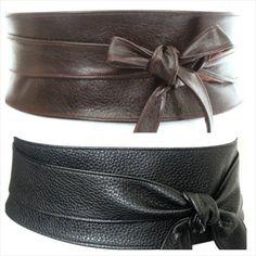 Two Leather Obi belts  Leather wide belts  tie wrap by LoveYaaYaa